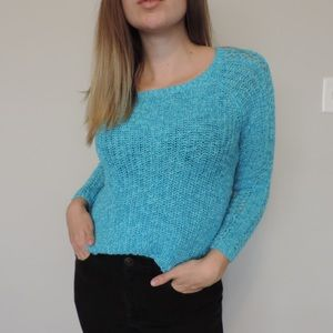 Justice Sparkly Blue Knit Sweater